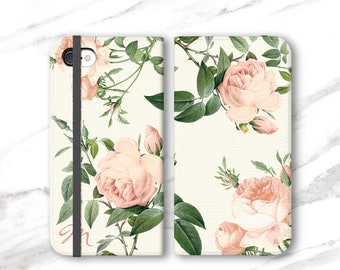 Personalized iPhone Case Wallet Rose Pattern iPhone 8 Plus X 7 6S Floral Womens Wallet Monogram
