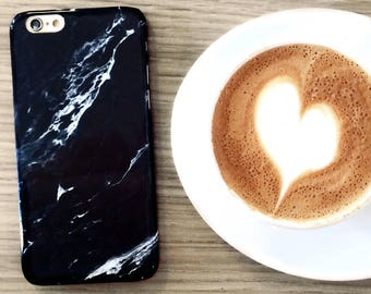 READY TO SHIP - Black Marble iPhone X, 7, 8, 6, 6S Plus - Minimalist Gifts for Men or Her - Galaxy S7 Edge Case