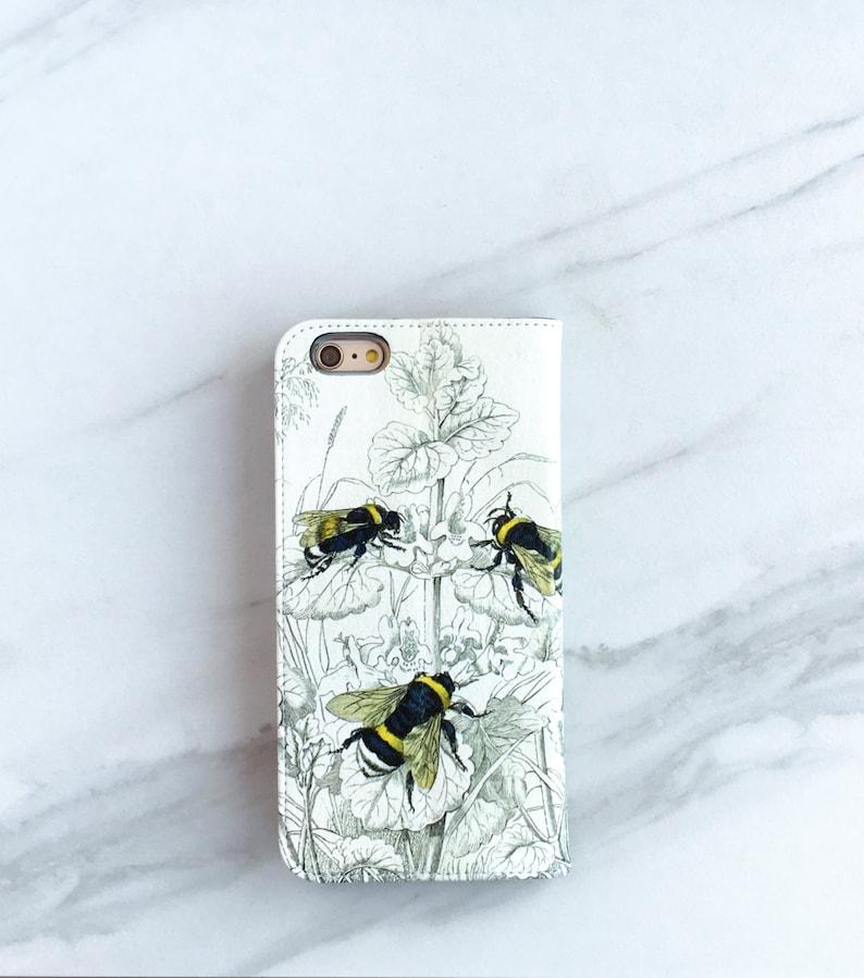 7725a2b388c4 Bee Botanical Wallet Phone Case Bumblebees iPhone Xs 8 7   Etsy