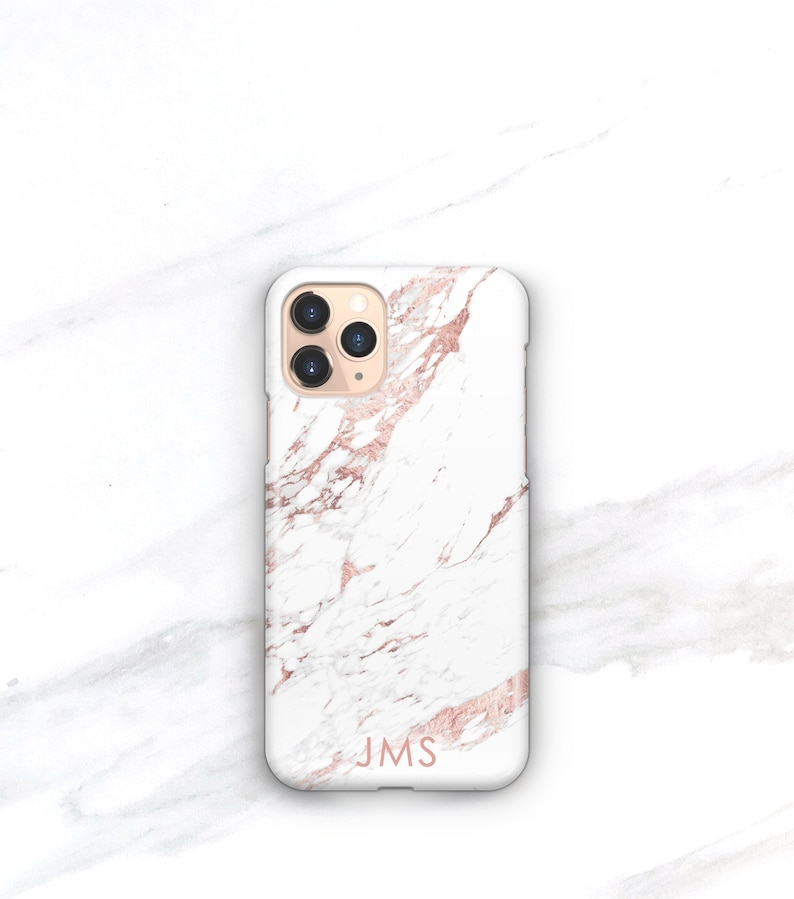 Personalized Gift Phone Case iPhone 12 13 Pro Max Rose Marble image 1