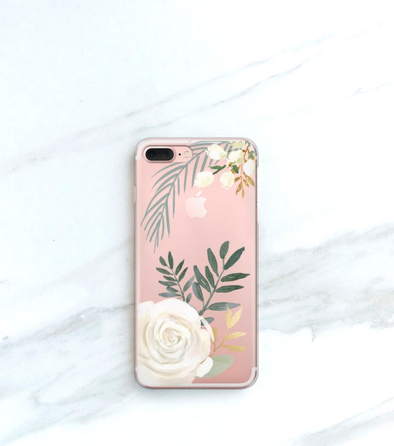 White Rose Clear Case For Iphone 8 Plus Case Clear Floral Etsy