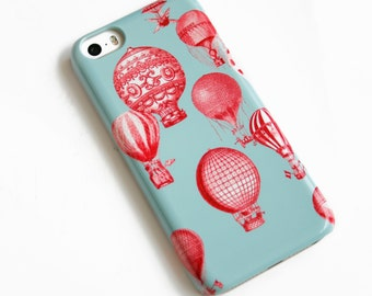 Hot Air Balloon iPhone 7 Case Vintage Balloons iPhone SE Case, iPhone 6S Case, iPhone 5S,  Red and Blue iPhone 6S Plus Case, Galaxy S7