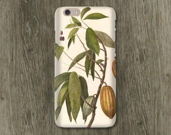 Chocolate Botanical iPhone 6S Case, Chocolate Lover's Gift iPhone 8 Case Cocoa Bean iPhone 5S Case, iPhone 7 Plus Case