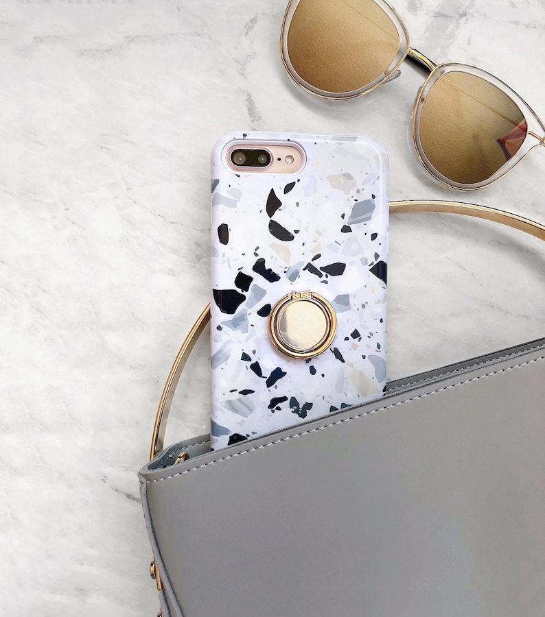 Terrazzo Print Phone Case with Gold Ring Grip iPhone or Galaxy image 0