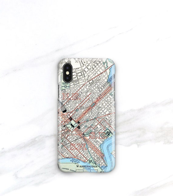 Se Dc Map.Vintage Washington D C Map Phone Case Iphone Xs 8 Plus 7 Se Etsy