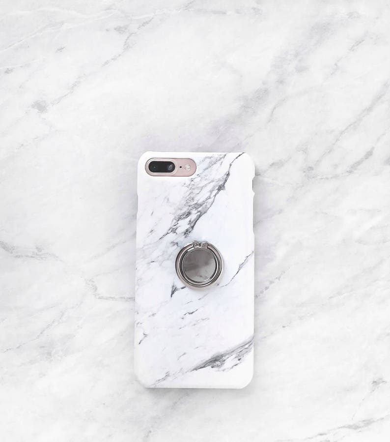 Ring Phone Holder White Marble Case Set Iphone And Samsung