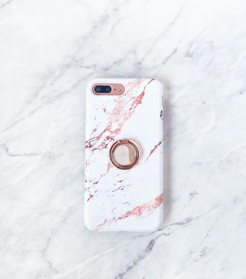 promo code c577d f9362 Rose Gold Ring Phone Holder - Rose Marble Case iPhone and Samsung Galaxy  Phone Stand Grip