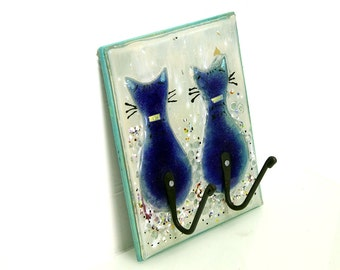 Cats Wall Hook,  2 Blue fused glass Cats Shaped Hook Wall Door Hook Wall  glass painting