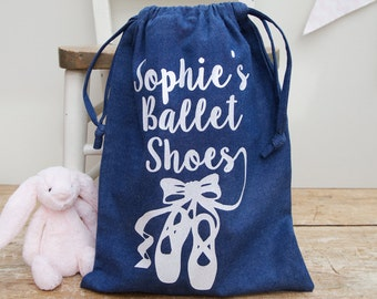 Personalised Child's Ballet Shoe Bag, Drawstring Dance Bag, Sports Bag, Small Laundry Bag
