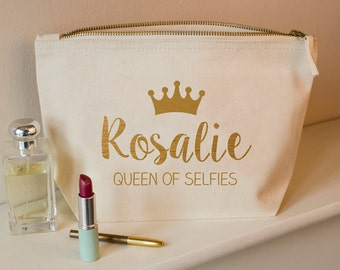 Personalised Queen Make Up Bag