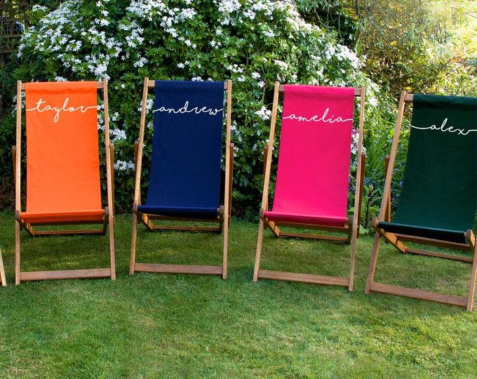 Personalised Adult Deckchair, Sun Lounger, Garden Chair, Beach Chair, Hardwood Foldable Lounger