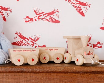 Personalised Wooden Train & Carriage
