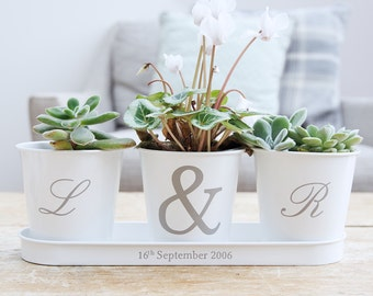 Personalised Initial Tray And Pots