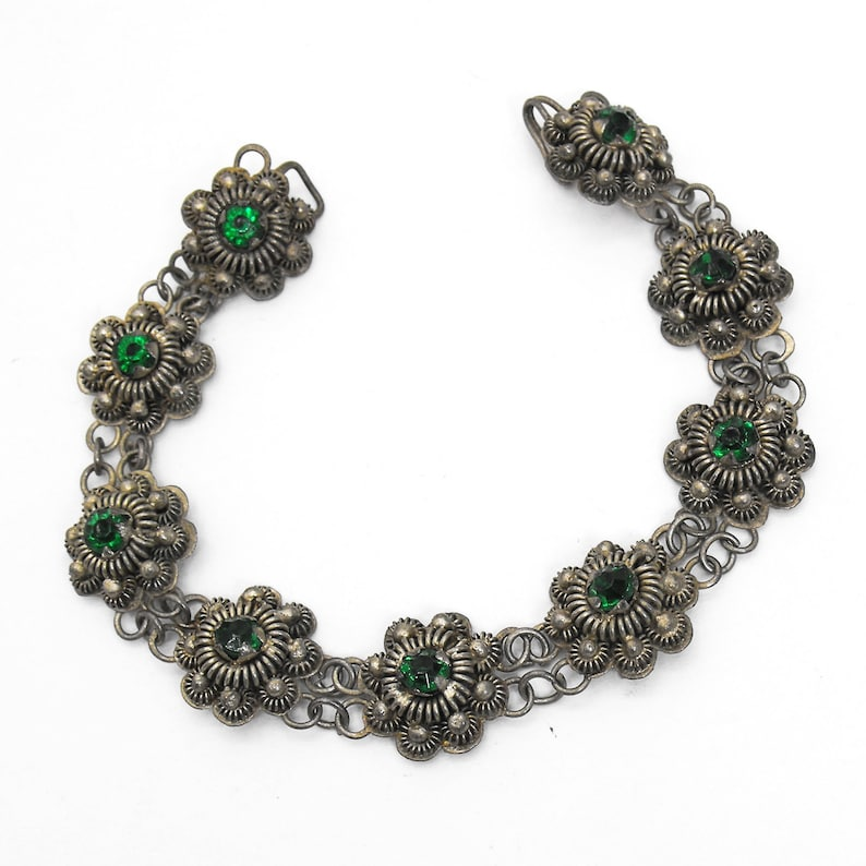 Vintage Cannetille Bracelet Etruscan Repousse Silver Wire Green Rhinestone