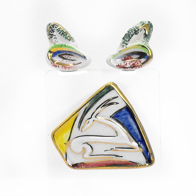 Vintage Art Deco Gazelle Brooch Earrings Set Eames Era Italy Artisan Ceramic