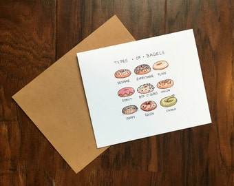Funny Types of Bagels Greeting Card