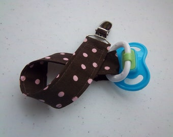 Brown with Pink Polka Dot Pacifier Clip