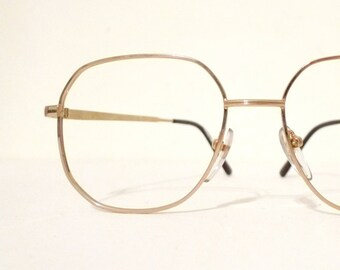5d3eb508fc HUGE Polygon NOS Metal Goldtone Mod ROUnd SquAre Aviator Eyeglasses Larger  Glasses Metal Sunglasses Never Used Boho Festival Panto Designer