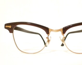 134f5de0e2 Vintage 60s Cateyes Glasses Cat Eye Glasses Never Used Brown Ale Hot Java  Browline Clubmaster Combination Metal Eyeglass Sunglass Frame