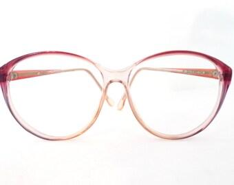 ef0b1c4424d Huge Designer Cat Eye Glasses Disco Frames Clear Pink Rose MOD Vintage  Eyeglasses or Sunglasses. Sale