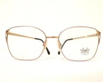 3eb4a8e54159 Mod Le Star Big Luxottica Lavender Glasses Aviator Never Used Eyeglass Frame  Italy 70s 80s Pastel Sunglasses Designer Eyewear Disco Metal