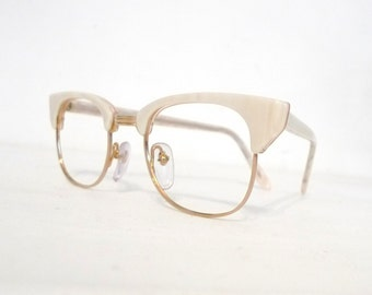 c87a1bd6f2df Big 80s Pearly CLubmaster Vtg NOS Clubman EyeGlass Frame New Wave Designer  Sunglasses Clubmaster Tart Optical Shady Never Used White
