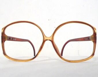 374afff8b9e1 HUge Designer Big Honey Amber Frame Germany Vintage NOS Huge Eyeglass Frame    Golden Mod Bubble Bug Eye Disco Sunglasses Sale
