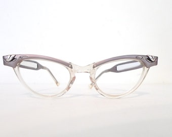 5b33e4553ce3 Sale SMall Vintage 50s 60s Cat Eye Glasses Frame   Clear NOS Combination  Aluminum Eyeglasses SunGlasses   Prescription Quality