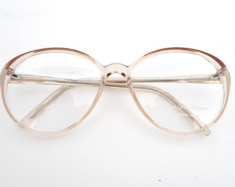 ce0f72a5fc7 80s Round Peachy Pink Tint   Clear Bubble Glasses New Unused Vintage NOS  Mod Clear Eyeglasses Sunglasses Frame Mod Disco Cat Eye Granny SAle