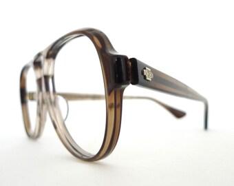 b9a6d116cf9e Big NOS Aviator Frame Marble Grey Brown Smoke Eyeglasses Sunglasses Hip Hop  Sunnies 70s 80s Pilot Driver Shooters Designer Disco Nerd