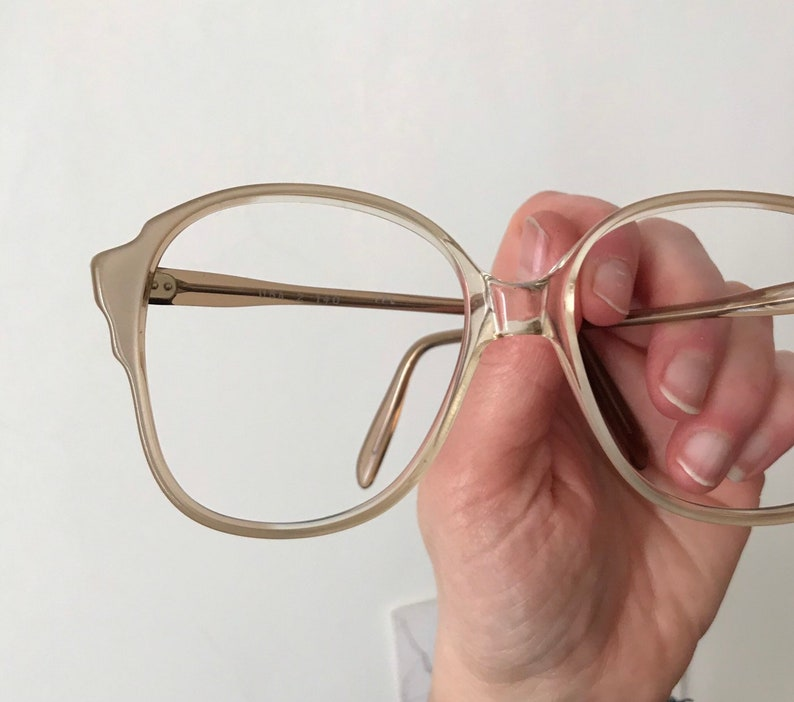 36bc6d4dd9 Vintage 70s Crystal Clear Bubble Eyeglasses Pearly Golden