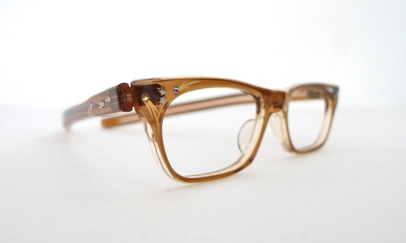 61443eba79 SMALL French Cat Eye Glasses Frame Rhinestone Embellished Khaki NOS  Eyeglasses S... SMALL French Cat Eye Glasses Frame Rhinestone Embellished  Khaki NOS ...