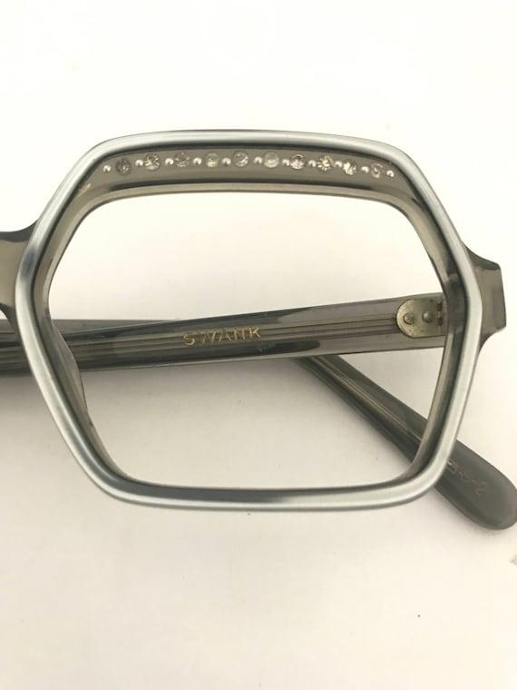 753b743cca07 Silver Fox Grey Cat Eye Glasses Vtg 70s Mod MCM Rhinestone