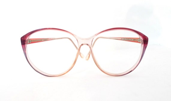 9a9244ad0e7f Huge Designer Cat Eye Glasses Disco Frames Clear Pink Rose MOD