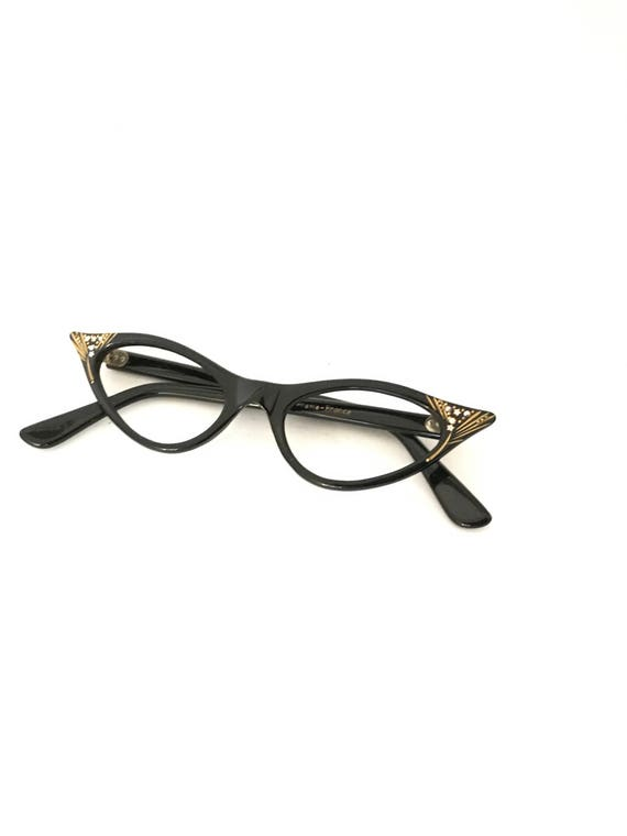ca18765d83f Winged Gilded Black Cat Eye Glasses Frame Horn Rimmed CatsEye