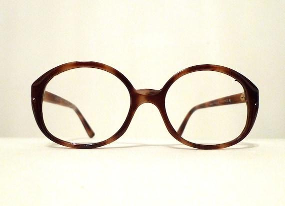 0144e30c5b NOS Frame France Round CatEye Glasses Faux Tortoise Eyeglass