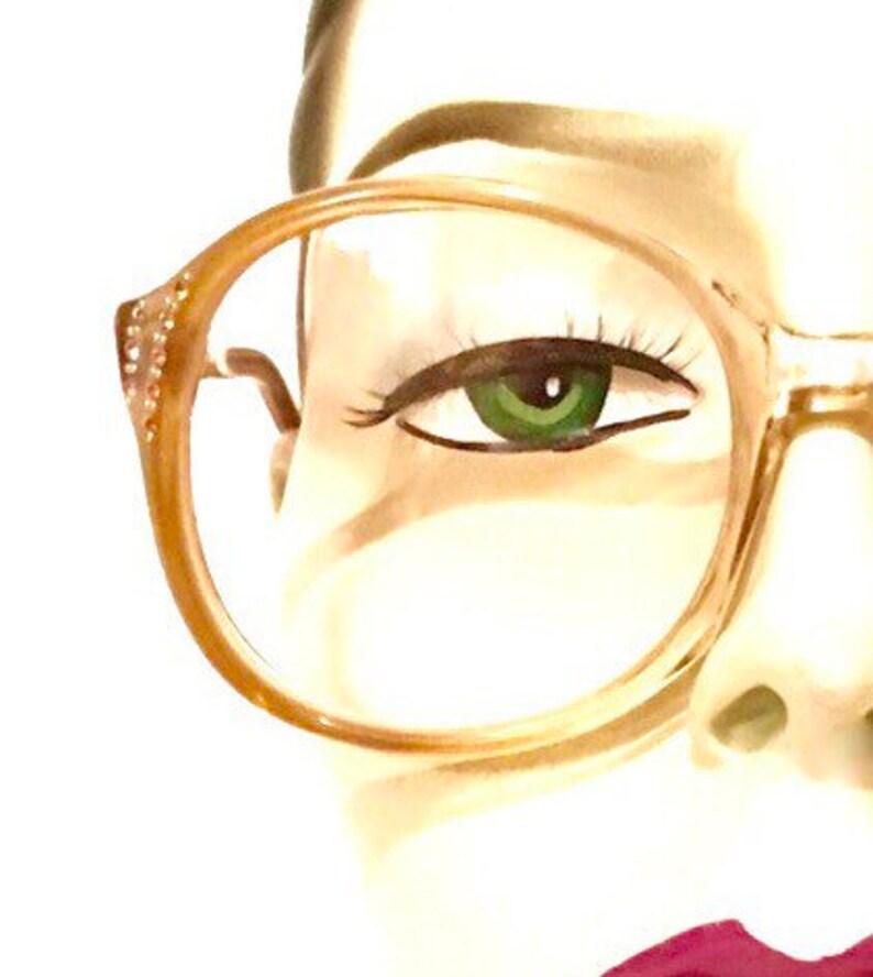 c4aba526f5933 NOS Big Pink Rhinestone Eyeglass Frame Never Used Iconic Round