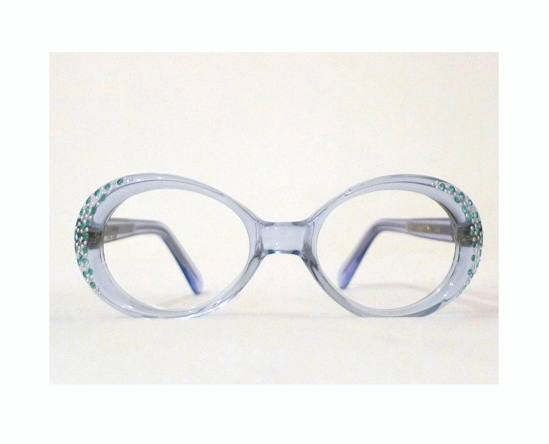 eb79bdf09f Blue Rhinestone Eyeglass Frame. Mod Bubble NOS Unused.