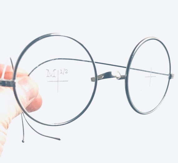 40ec6d561373 Items similar to Lennon Glasses Antique Spectacle Eyeglass Goggles  Steampunk Optical Saddle Bridge Metal Steve Jobs Harry Potter Test Frame  Rare on Etsy