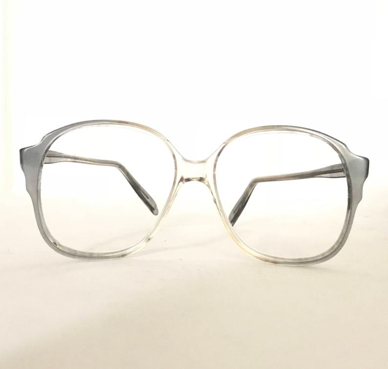d24eb27e8a8 Vintage 70s Crystal Clear Bubble Eyeglasses Pearly Golden