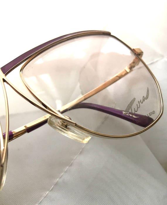 700765314c40 BIG Designer Aviator EyeGlasses in Plum   Goldtone. Unused NOS