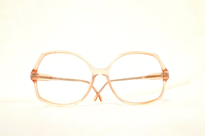 6849291d04 Peachy NOS Clear Palest Rose Colored Glasses Frame Faint Pink