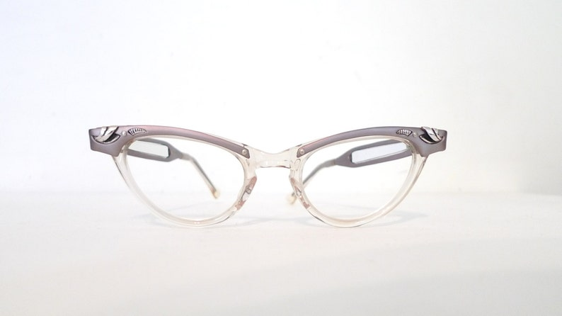 7bafd9922aa46 Sale SMall Vintage 50s 60s Cat Eye Glasses Frame   Clear NOS