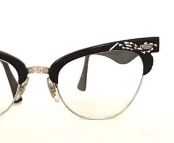 24747a60c944 1/10 12k GF Winged Black Cat Eye Glasses True Vintage 50s 60s | Etsy
