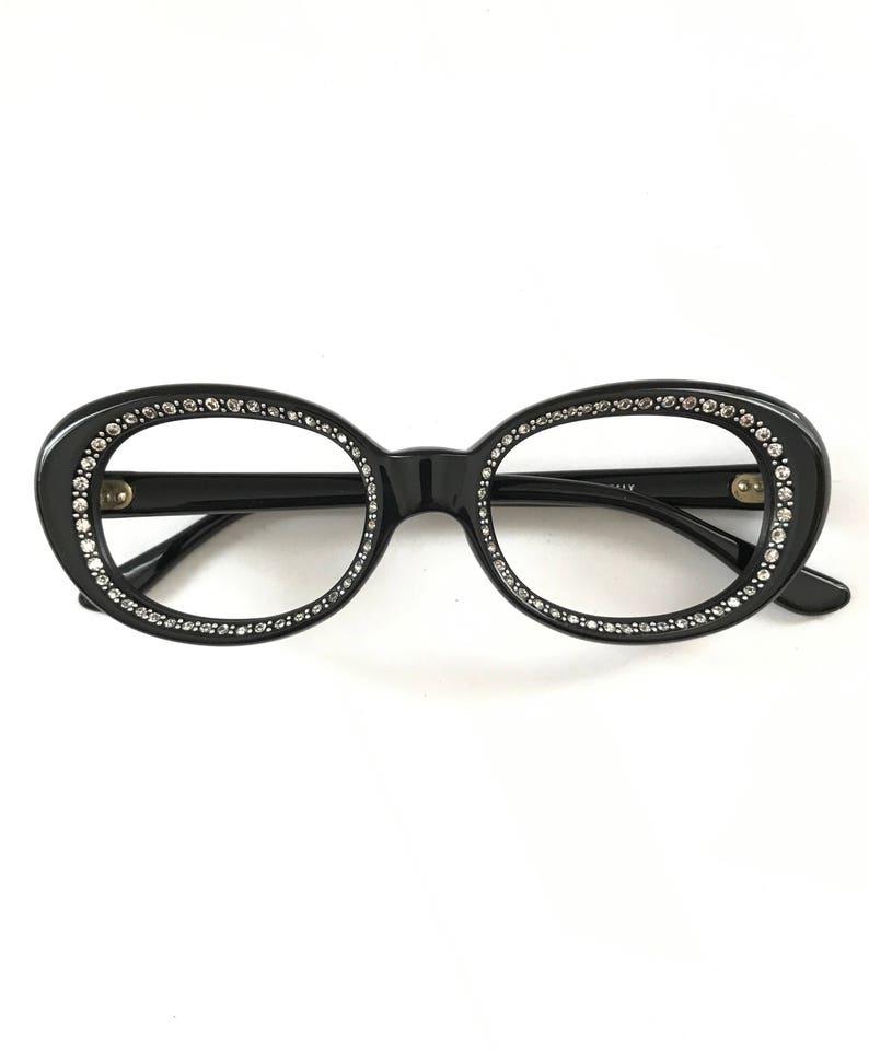 7aaa11b0a0 Rhinestone Studded Black Oval  Round Eyeglasses Frame Italy