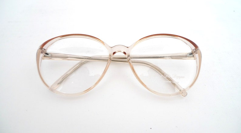 7dd9e469c5 80s Round Peachy Pink Tint   Clear Bubble Glasses New Unused