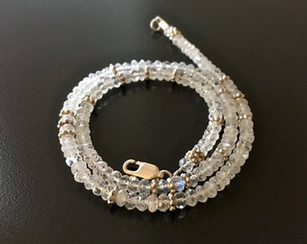 Faceted Moonstone and Sterling Silver Choker