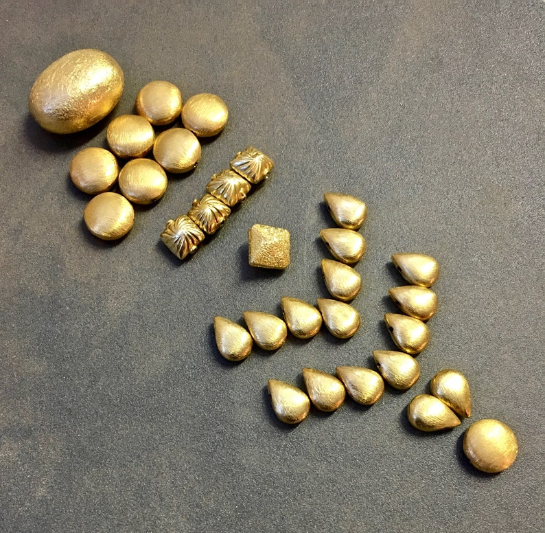 Unused 30 Pieces Collection of Vermeil Focal Beads