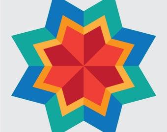CALDONIA Block Rock'n Series #5 Paper Piecing Pattern for Sewing or Quilt Blocks PDF Instant Download