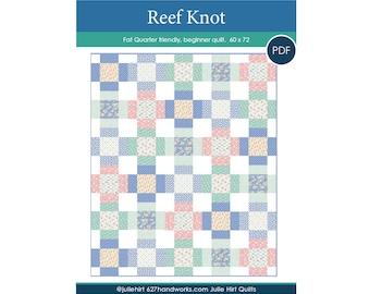 Reef Knot Quilt Pattern + Coloring Sheet.  Fat Quarter Friendly Beginner Quilt PDF download